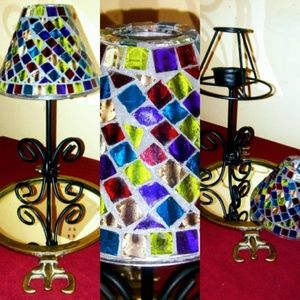 Collection of Mosaic variate of candle holders